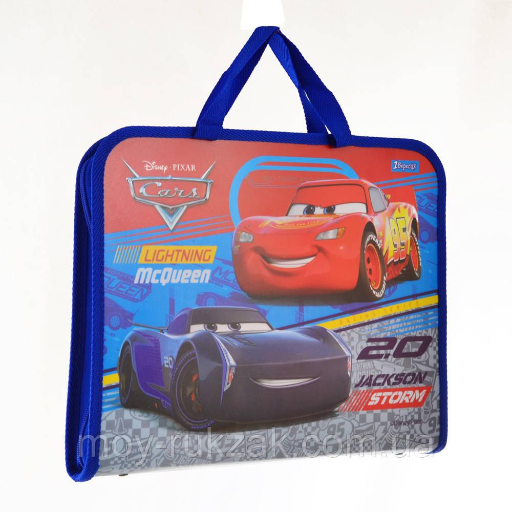 """Папка - портфель на молнии с тканевыми ручками А4 """"Cars"""" арт.491429"""