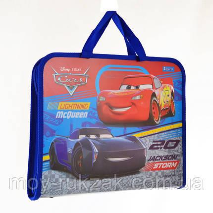 """Папка - портфель на молнии с тканевыми ручками А4 """"Cars"""" арт.491429, фото 2"""