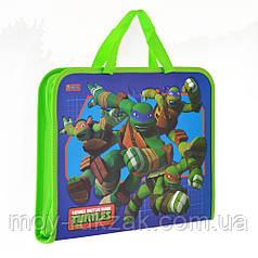 """Папка - портфель на молнии с тканевыми ручками А4 """"Ninja Turtles"""" арт.491427"""