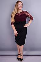 Романтика. Гіпюрова сукня для великих розмірів. Чорний+бордо.
