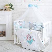 Детский постельный комплект из 7  элементов Akvarel Пилот, серо-голубой, фото 1