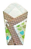 Конверт Одеяло для новорожденных на выписку весна лето осень 80х80см Сердца зеленые