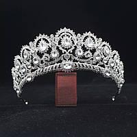 Корона, диадема, тиара под серебро с прозрачными камнями, высота 6,5 см., фото 1
