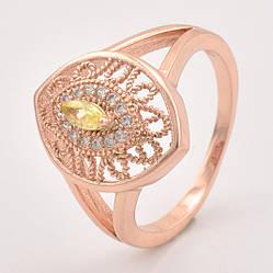 Кольцо 10212 размер 17, жёлтый фианит, позолота РО