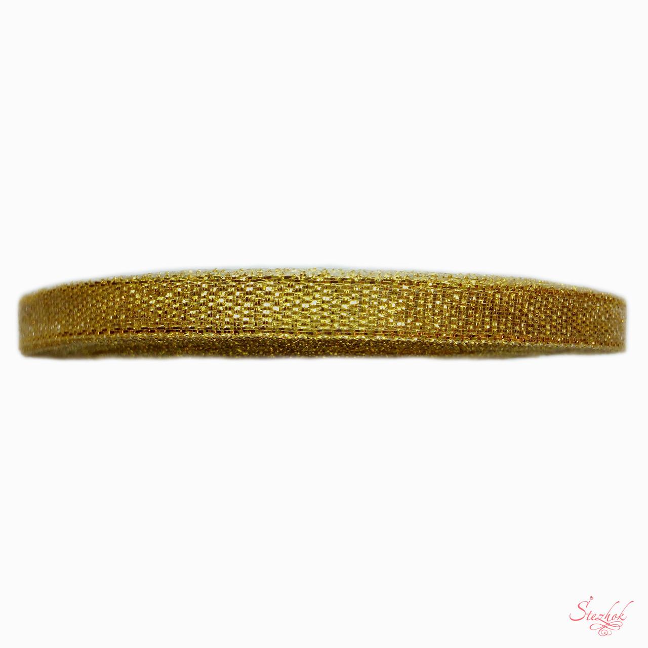 Парчовая лента из органзы и золотой нити 6мм 1м для рукоделия