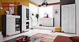 Комод трьохдверний з шухлядами у вітальню білий/графіт з ДСП Clif SB Furnival, фото 2