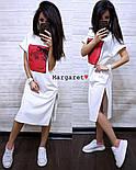 Стильне жіноче пряме сукня з розрізами і нашивкою (4 кольори), фото 2