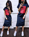 Стильне жіноче пряме сукня з розрізами і нашивкою (4 кольори), фото 3