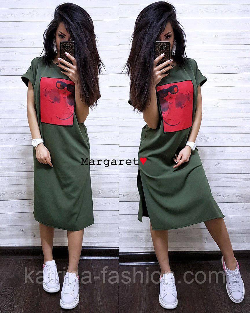 Стильне жіноче пряме сукня з розрізами і нашивкою (4 кольори)