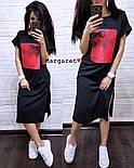 Стильне жіноче пряме сукня з розрізами і нашивкою (4 кольори), фото 6