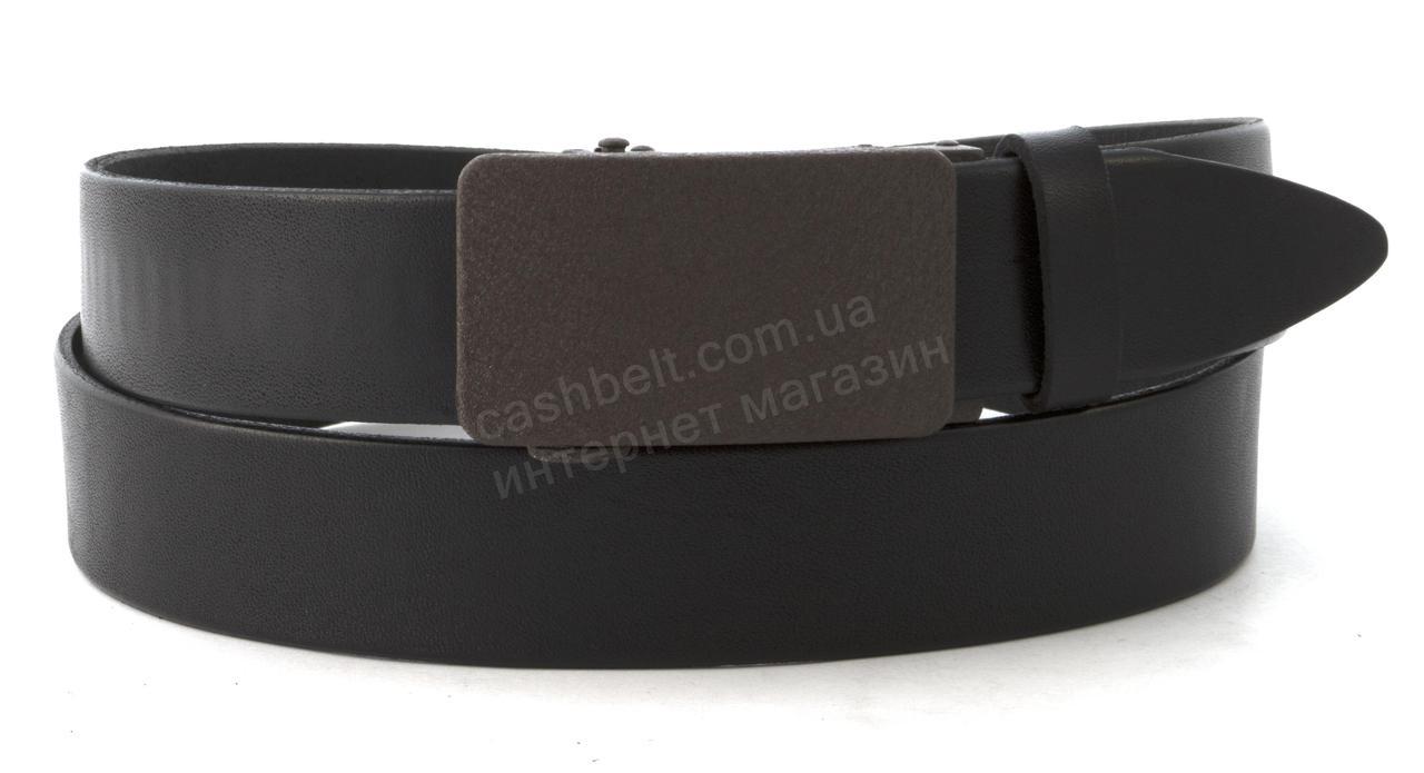 Качественный мужской кожаный ремень с качественной пряжкой автомат 3,5 см Украина (102580) черный