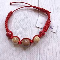 Браслет шамбала красный из натуральных камней