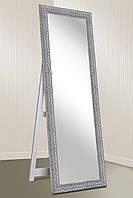 Зеркало напольное Factura в пластиковом багете с деревянной подставкой Silver wave 60х174 серебро, фото 1