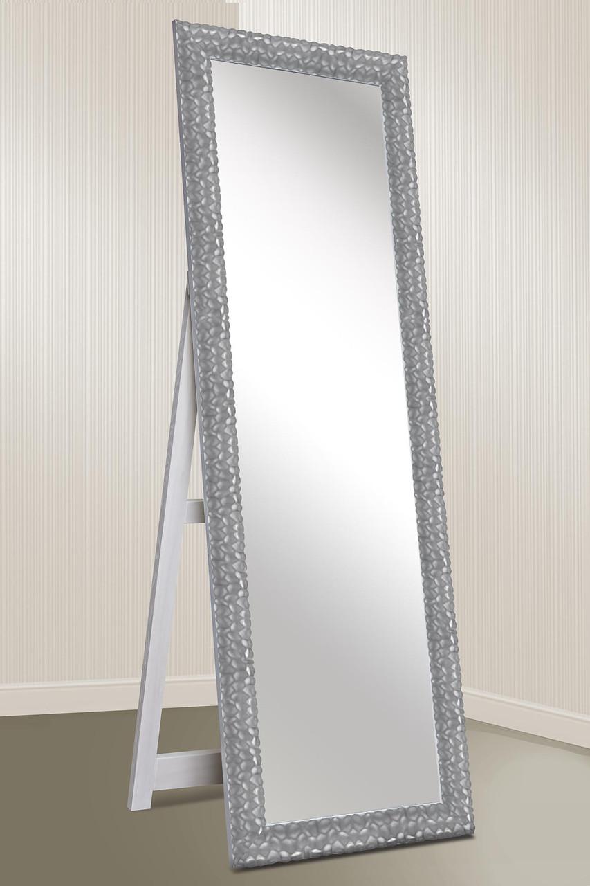 Зеркало напольное Factura в пластиковом багете с деревянной подставкой Silver wave 60х174 серебро