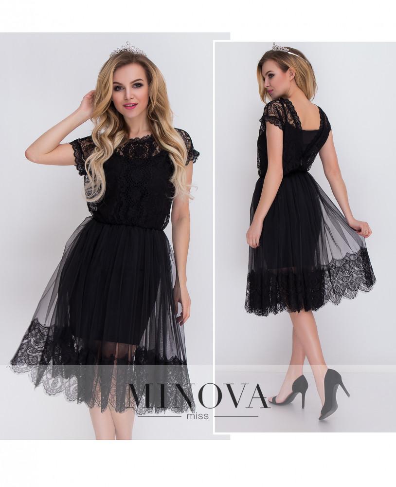 Нарядна чорна сукня з трикотажу + сітка з кружевом 060be1e0afb23