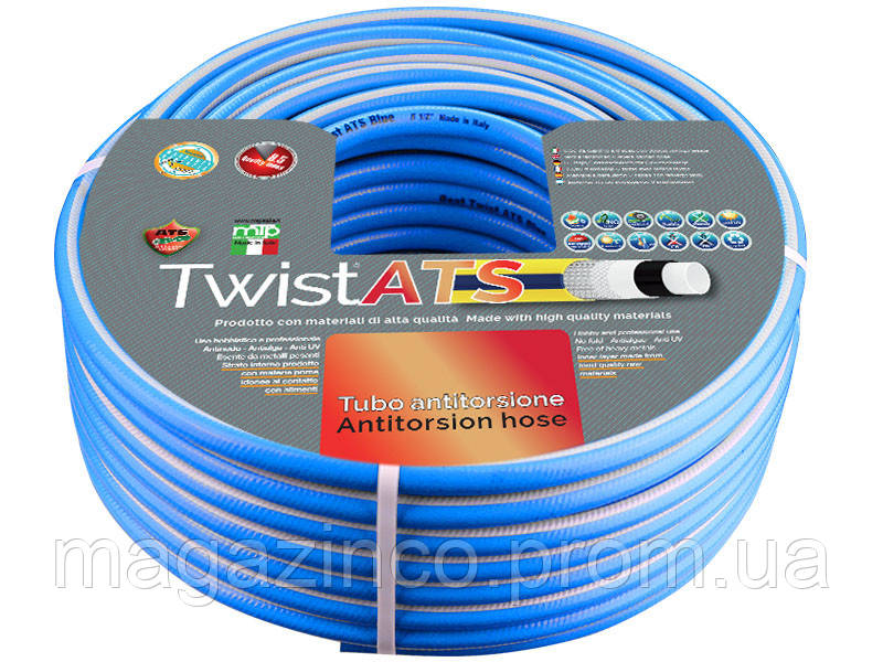 "Поливочный шланг ATS Twist Blue. 1/2 ""(~ 12,5 мм) 50м"