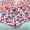 Женские хлопковые домашние шорты с фламинго с карманами
