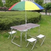 """Раскладной стол и 4 стула для пикника в чемодане Folding Table """"120* 60* 70 см"""" (туристический столик), фото 1"""