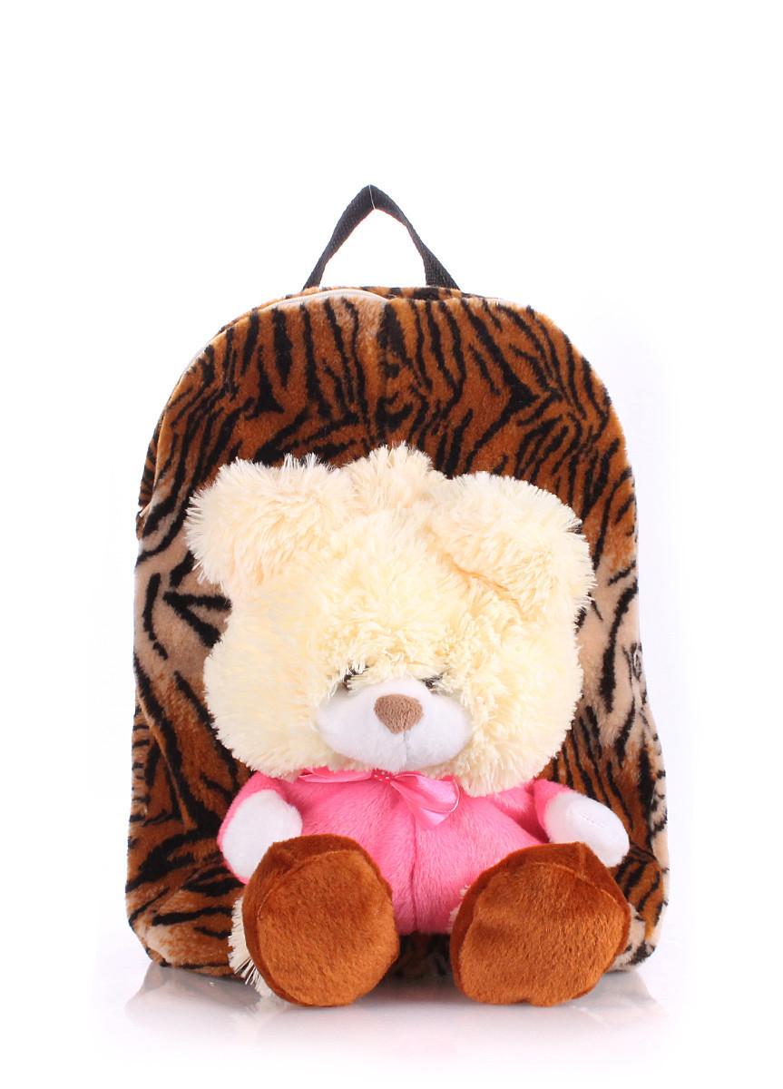 Детский рюкзак POOLPARTY с медведем коричневый
