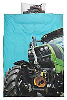 Комплект детского постельного белья с принтом тракторы (100% хлопок) 140х200 см.
