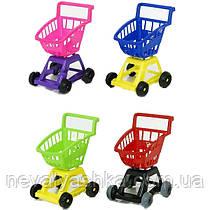 Тележка детская тачка на колёсиках супермаркет с ручкой на колесах пластик ОРИОН 693 000356