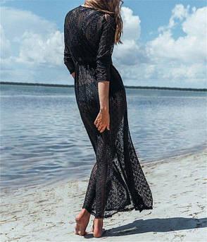 Пляжный халат гипюровый на пуговицах черный легкое пляжное платье накидка-146-06, фото 2