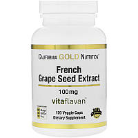California Gold Nutrition, French Grape Seed Extract, 100 mg, Antioxidant Polyphenol, 120 Veggie Caps, фото 1