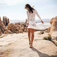 Пляжное платье гипюр длинное белое 146-06-1, фото 3