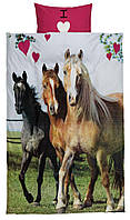 Комплект детского постельного белья с прином лошади (100% хлопок) 140х200 см.