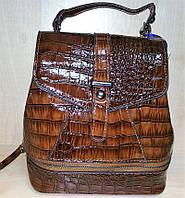 Сумка женская-рюкзак №D12 коричневый (лак)