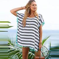 Туника пляжная полосатая с бахромой легкое Пляжное короткое платье-туника Пончо в полоску 146-09
