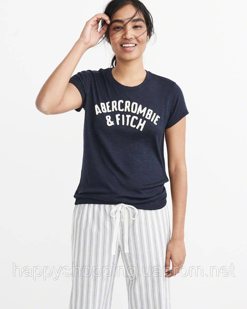 Женская темно-синяя футболка с принтом Abercrombie & Fitch
