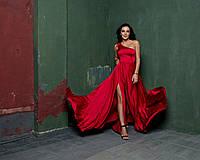 Платье в пол модное на одно плечо с глубоким разрезом и юбкой солнце Smdi2295