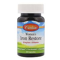 Carlson Labs, Womens Iron Restore, 28 mg Iron + B Vitamins, 60 Capsules