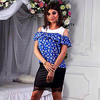 Блуза штапель с воланами на рукавах на резинке, пять цветов р,42,44,46 код 5302Л