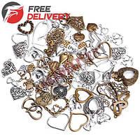 Набор из 100 металлических подвесок шармов шармиков, сердца