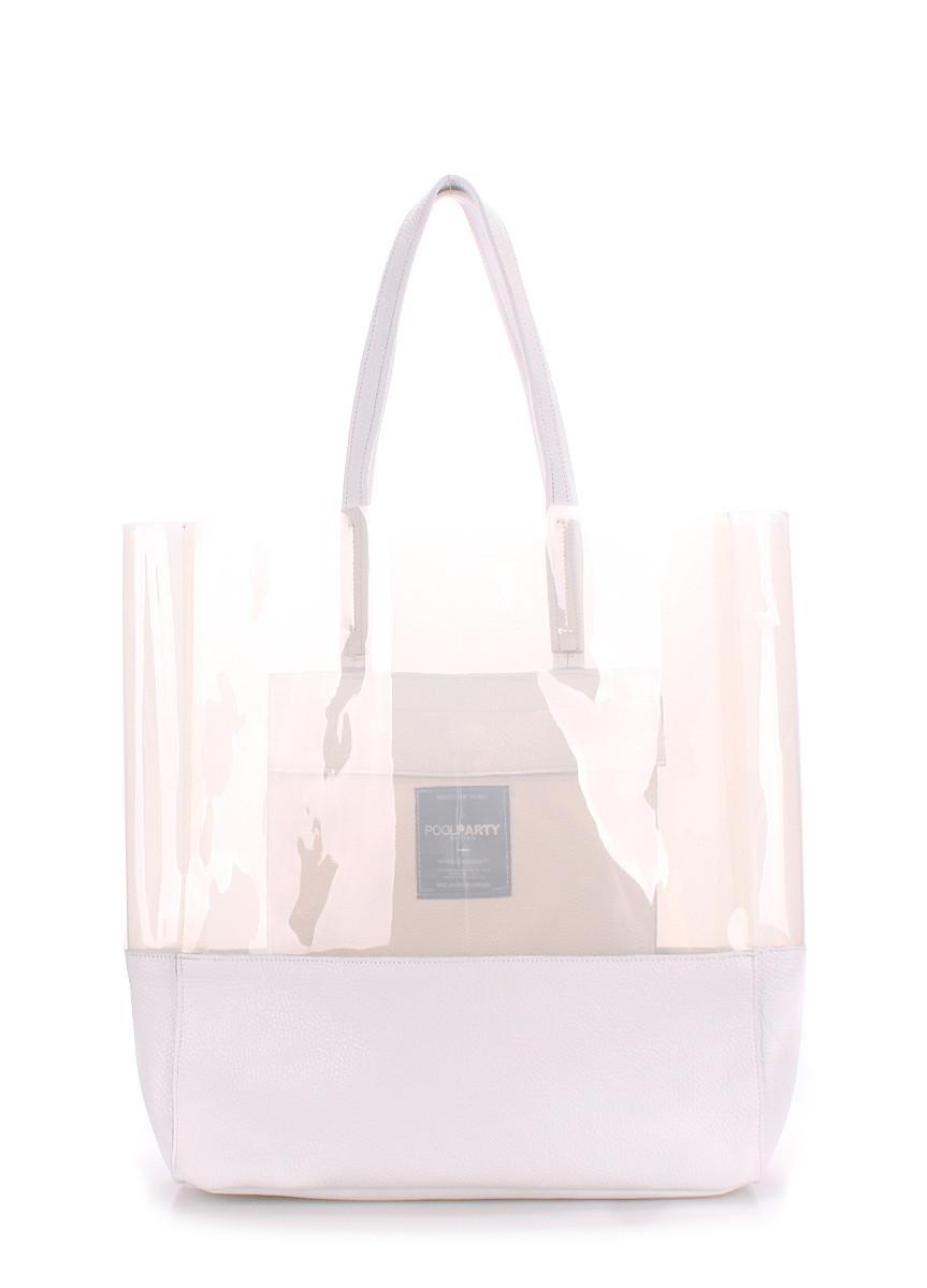 Кожаная сумка POOLPARTY City белая