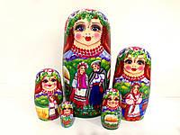 Подарок в украинском стиле за границу друзьям Матрешка большая 5в1, 17 см, ручной росписи (1)