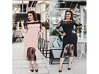 Женское платье элегантное с сеткой+вышивкой  48+++, фото 1