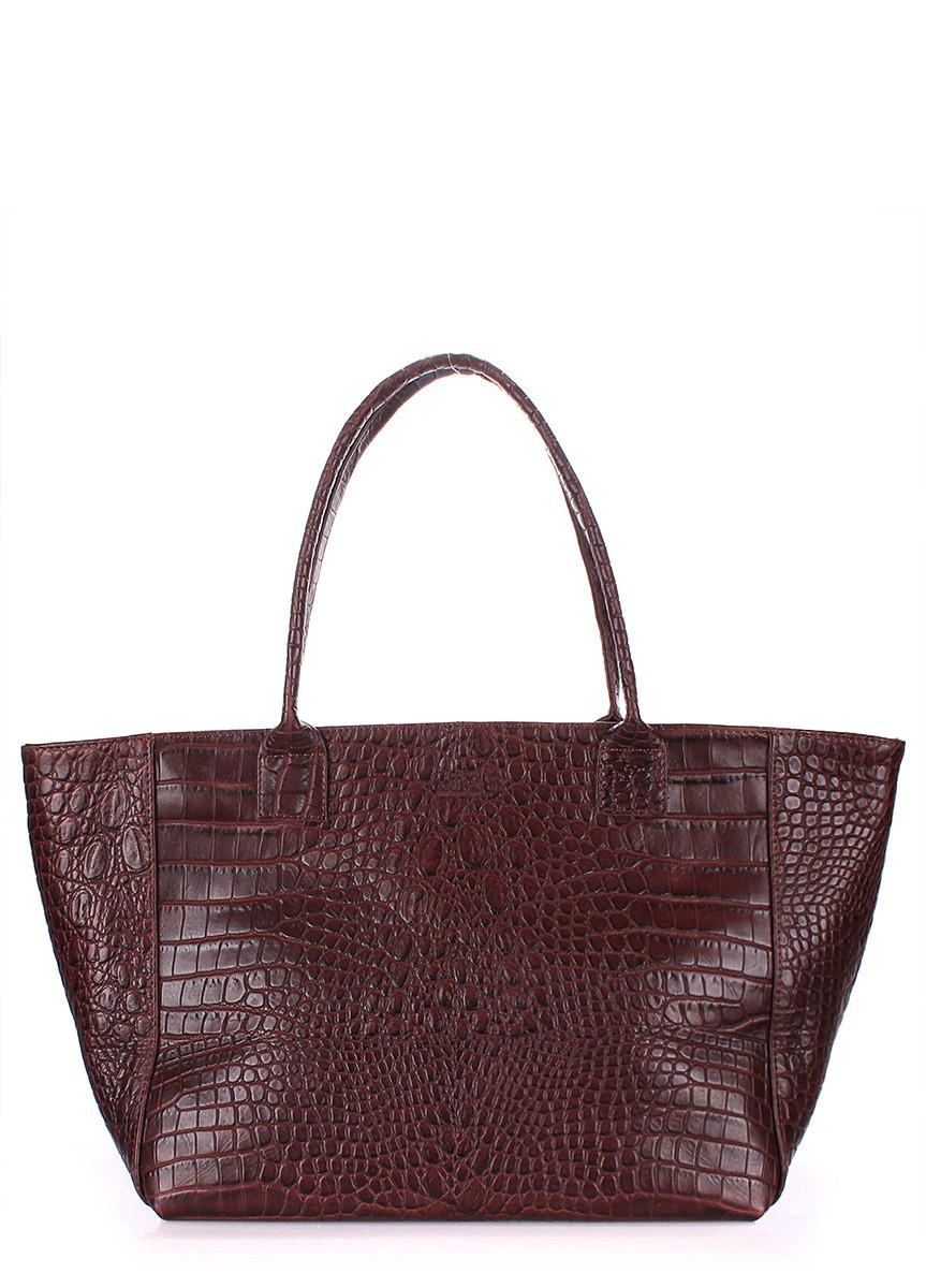 Кожаная сумка POOLPARTY Desire коричневая