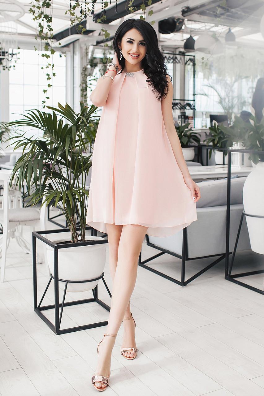 Платье персиковое коктейльное Мелитта