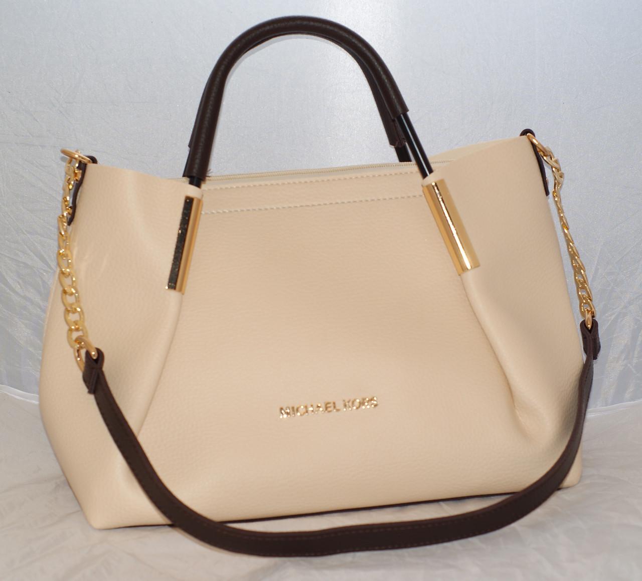 cd505aa73a5a Женская сумка с косметичкой Michael Kors, бежевая с коричневыми ручками