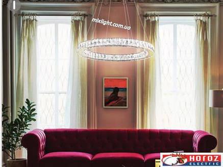 Люстра с кристаллами светодиодная 40W Eterniti-40 Horoz Electric, фото 2
