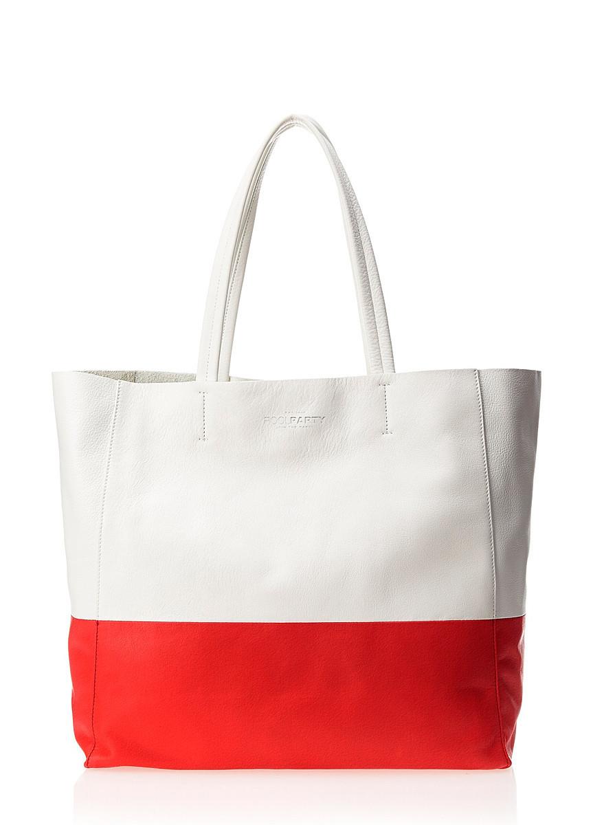 Кожаная сумка POOLPARTY Devine белая