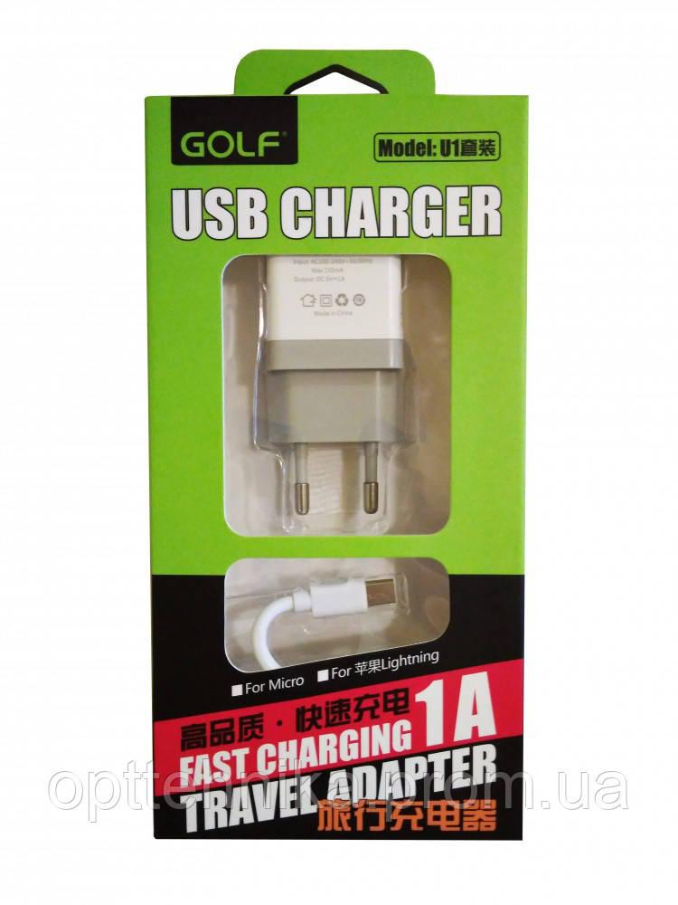 Cетевое зарядное устройство Golf GF-U1m Micro 1A (1 USB + блок)