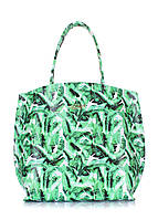 Кожаная сумка Pearl POOLPARTY  с пальмовым принтом зеленая