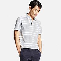 Мужская футболка поло Uniqlo Men Dry Pique Striped Polo GRAY
