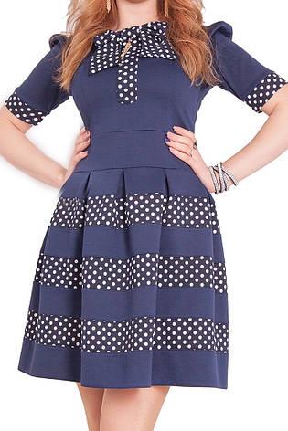 Модное красивое дешевое нарядное трикотажное платье с бантом на горловине, фото 2