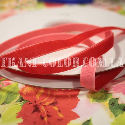 Велюровая (бархатная) лента красная, 1см, 20м, фото 2