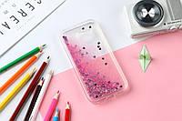 Чехол Бампер Glitter Жидкий блеск для Samsung Galaxy A3 2017 / A320 с блестками сердце розовый